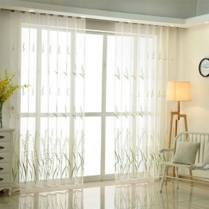 Modern Simple Sheer Curtain Embroidery Curtain Rice Flower Embroidery Patterns Curtain