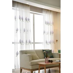 Nordic Simple Sheer Curtain Embroidery Curtain Lavender Pattern Curtain