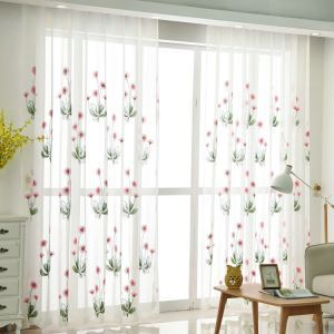 Nordic Simple Sheer Curtain Embroidery Curtain Sun Flower Pattern Curtain