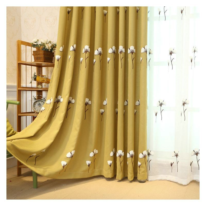 Nordic Simple Sheer Curtain Embroidery Curtain Kapok
