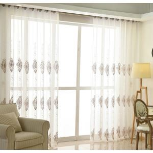 Nordic Simple Sheer Curtain Embroidery Curtain Embroidery Pattern Curtain