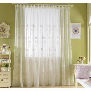 Nordic Simple Sheer Curtain Embroidery Curtain Butterfly Dandelion Pattern Curtain