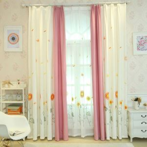 Nordic Simple Sheer Curtain Embroidery Curtain Sunflower Pattern Curtain