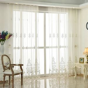 Nordic Simple Sheer Curtain Embroidery Pattern Sheer Curtain