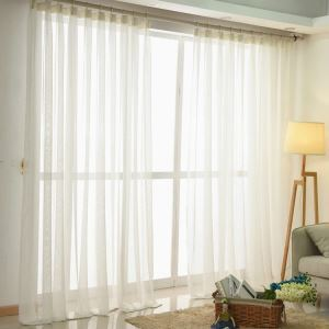 Modern Sheer Curtain Simple Sheer Curtain White Cross Cotton Linen Sheer Curtain