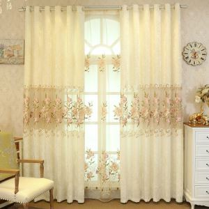 Nordic Simple Sheer Curtain Embroidery Flowers Pattern Sheer Curtain