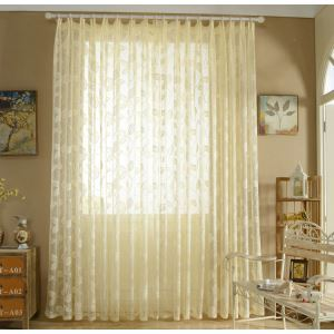 Nordic Simple Sheer Curtain Embroidery Leaves Pattern Sheer Curtain