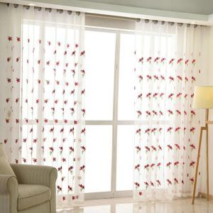 Nordic Simple Sheer Curtain Embroidery Small Red Flower Pattern Sheer Curtain