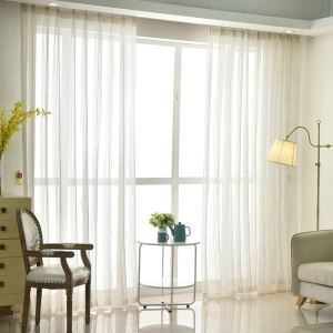 American Country Sheer Curtain Jacquard Plain Simple Sheer Curtain