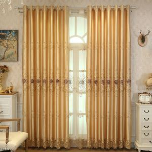 European Style Sheer Curtain Embroidery Golden Peony Pattern Sheer Curtain