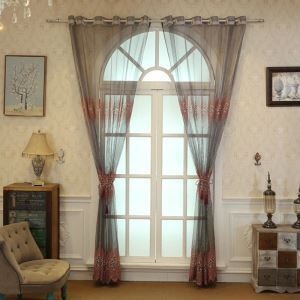 European Style Sheer Curtain Embroidery Purple Embroidery Pattern Sheer Curtain