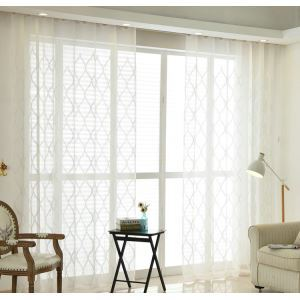 Modern Sheer Curtain Simple Embroidery Sheer Curtain White Diamond Lattice Pattern