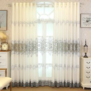 Modern Sheer Curtain Simple Embroidery Sheer Curtain Peony Pattern