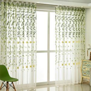 Modern Sheer Curtain Simple Embroidery Sheer Curtain Flying Swallows Willow Pattern
