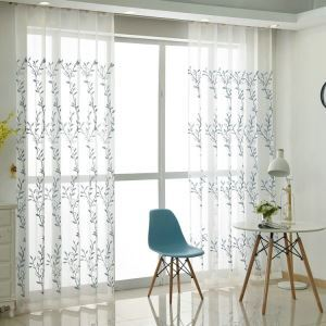 Modern Sheer Curtain Simple Embroidery Sheer Curtain Blue Bluegrass Pattern