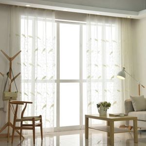 Modern Sheer Curtain Simple Embroidery Sheer Curtain White Bird Pattern