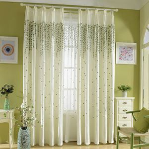 Modern Sheer Curtain Simple Embroidery Sheer Curtain Green Embroidery Curtain