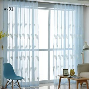 Modern Sheer Curtain Simple Embroidery Feather Pattern 2 Colors