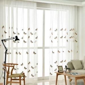Modern Sheer Curtain Simple Embroidery Sheer Curtain Yellow-brown Butterfly Pattern