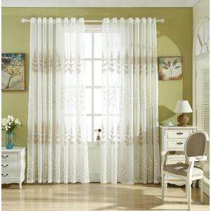 Modern Sheer Curtain Simple Embroidery Sheer Curtain Pine Plum Embroidery Pattern
