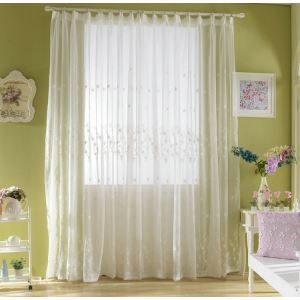 Modern Sheer Curtain Simple Embroidery Sheer Curtain Plum Orchid Pattern
