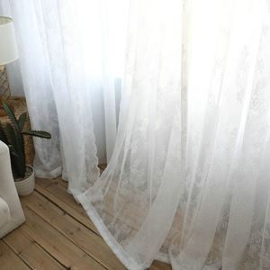 Modern Sheer Curtain Simple Sheer Curtain White Lace Embroidery Pattern