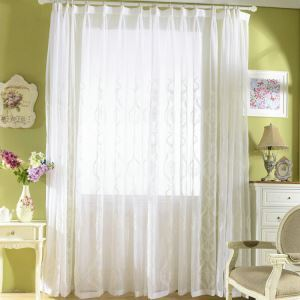 Modern Sheer Curtain Simple Sheer Curtain White Embroidery Pattern