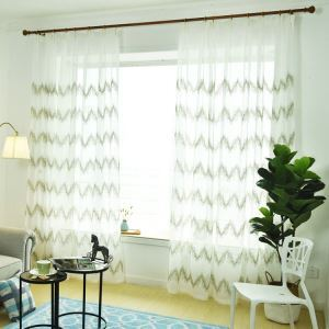 Modern Sheer Curtain Simple Embroidery Sheer Curtain Wavy Pattern
