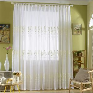 Modern Sheer Curtain Simple Embroidery Sheer Curtain White Bouquet Pattern