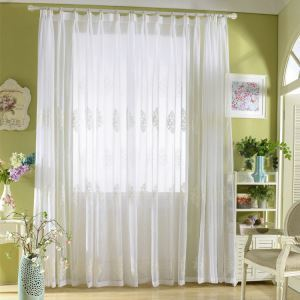 Modern Sheer Curtain Simple Embroidery Sheer Curtain White Embroidery Pattern