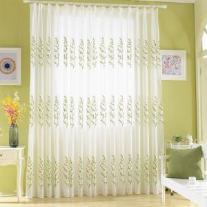 Modern Sheer Curtain Simple Embroidery Sheer Curtain Gypsophila Pattern