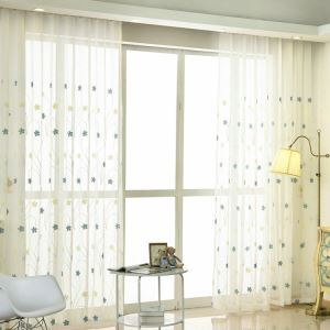 Modern Sheer Curtain Simple Embroidery Sheer Curtain Flower Pattern