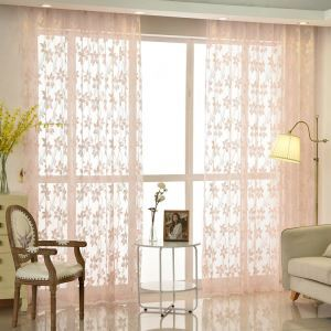 Modern Sheer Curtain Simple Lace Embroidered Sheer Curtain Peach Blossom Pattern