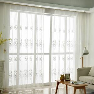 Modern Sheer Curtain Simple White Embroidery Cotton And Linen Sheer Curtain