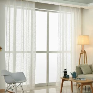 Modern Sheer Curtain Simple Embroidery Sheer Curtain White Cross Vertical Stripe Pattern