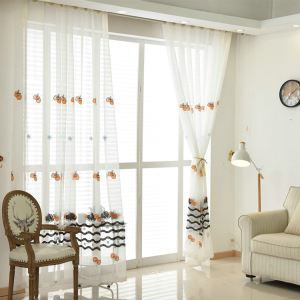 Modern Sheer Curtain Simple Embroidery Sheer Curtain Cherry And Wavy Pattern