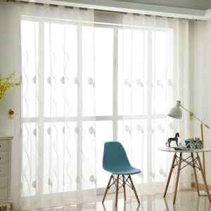 Modern Sheer Curtain Simple Embroidery Sheer Curtain Leaves And Wavy Pattern