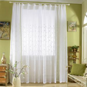 Modern Sheer Curtain Simple Embroidery Sheer Curtain Branches Pattern