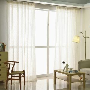 Modern Sheer Curtain Simple Embroidery Cotton And Linen Sheer Curtain