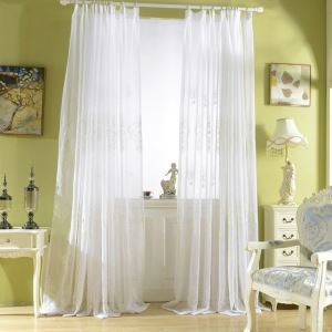 European Sheer Curtain Simple Embroidery Sheer Curtain White Embroidery Curtain