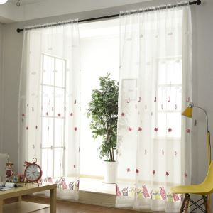 European Sheer Curtain Simple Embroidery Sheer Curtain Gift Candy Pattern
