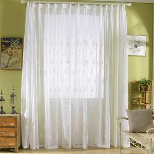 Modern Sheer Curtain Simple Embroidery Sheer Curtain Diamond Lattice Embroidery Curtain