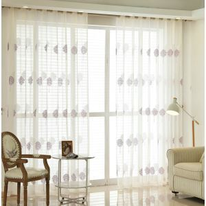 Modern Sheer Curtain Simple Embroidery Sheer Curtain Fortune Tree Pattern