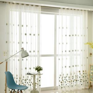 Modern Sheer Curtain Simple Embroidery Sheer Curtain Sunflowers Pattern