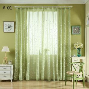 Modern Sheer Curtain Simple Embroidery Sheer Curtain Grass Flower Branches Pattern 2 Colors