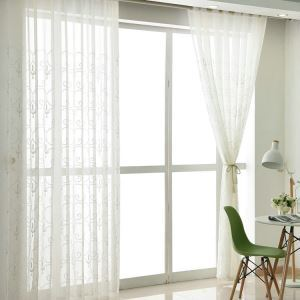 Modern Sheer Curtain Simple Embroidery Sheer Curtain White Vines Pattern