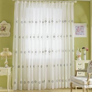 Modern Sheer Curtain Simple Embroidery Sheer Curtain Black Flower Pattern