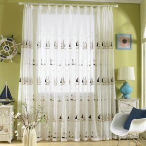 Modern Sheer Curtain Simple Printing Sheer Curtain Linen Fabric Sailboat Pattern