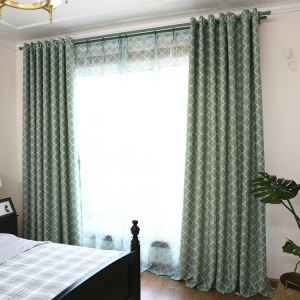 European Simple Curtain Printing Pattern Curtain Polyester Fabric Plaid Pattern
