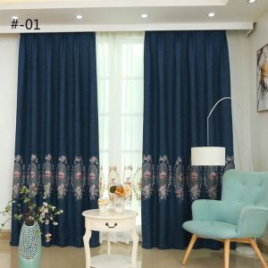 European Simple Curtain Embroidered Curtains Linen Fabric Mirror Peony Pattern
